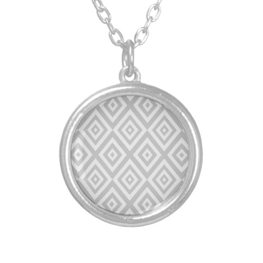 Abstract geometric pattern - grey. silver plated necklace