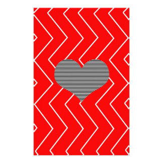 Abstract geometric pattern - heart - zigzag - red. stationery