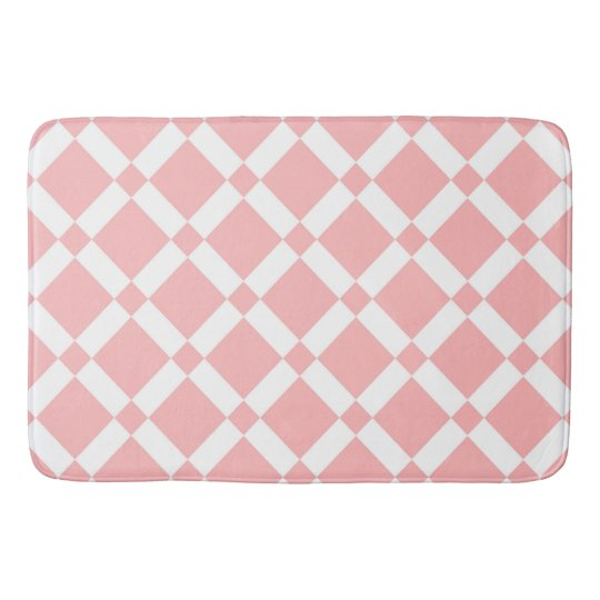 Abstract geometric pattern - pink and white. bath mat