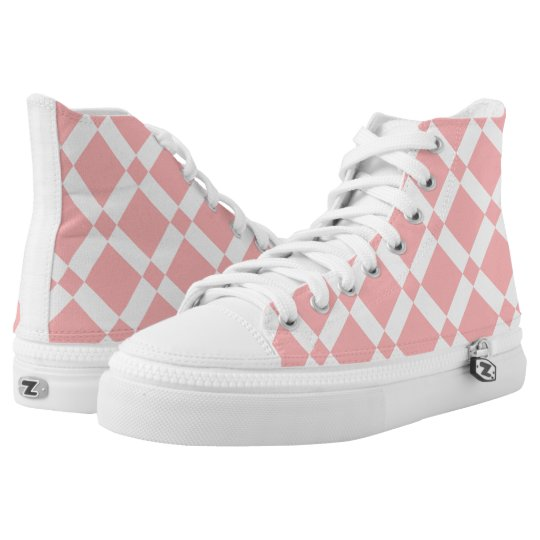 Abstract geometric pattern - pink and white. high tops