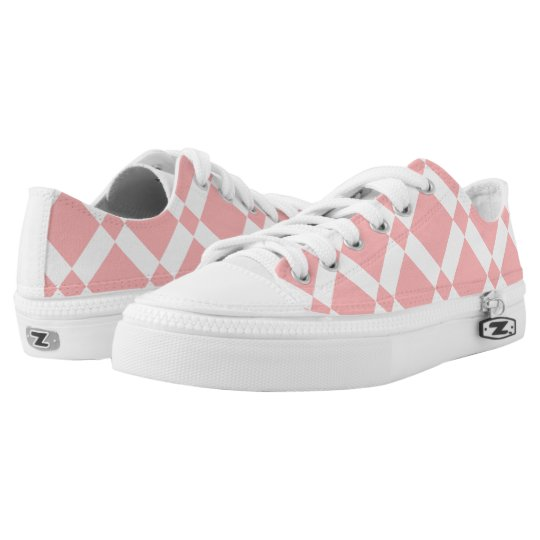 Abstract geometric pattern - pink and white. low tops