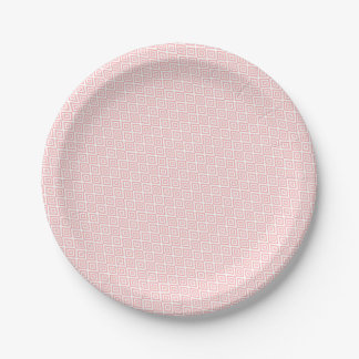 Abstract geometric pattern - pink and white. paper plate