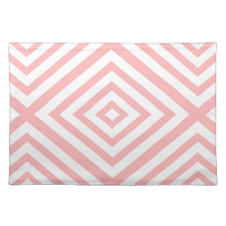Abstract geometric pattern - pink and white. placemat