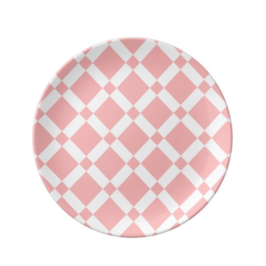 Abstract geometric pattern - pink and white. plate