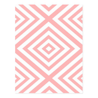 Abstract geometric pattern - pink and white. postcard