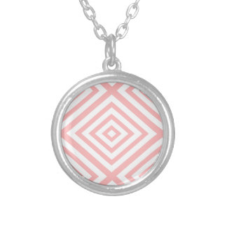 Abstract geometric pattern - pink and white. silver plated necklace