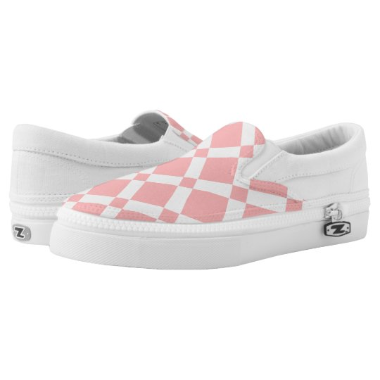 Abstract geometric pattern - pink and white. slip on shoes