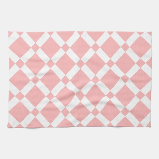 Abstract geometric pattern - pink and white. tea towel