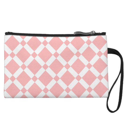 Abstract geometric pattern - pink and white. wristlet