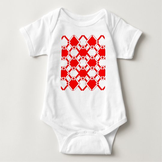 Abstract geometric pattern - red and white. baby bodysuit