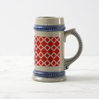 Abstract geometric pattern - red and white. beer stein