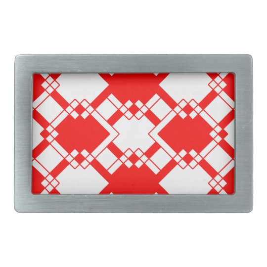 Abstract geometric pattern - red and white. belt buckles