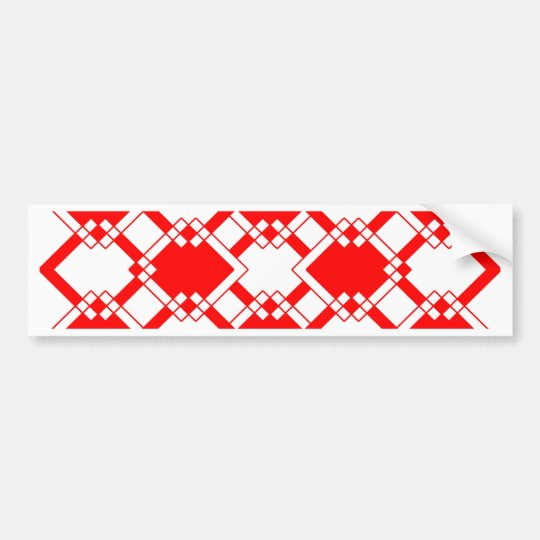 Abstract geometric pattern - red and white. bumper sticker