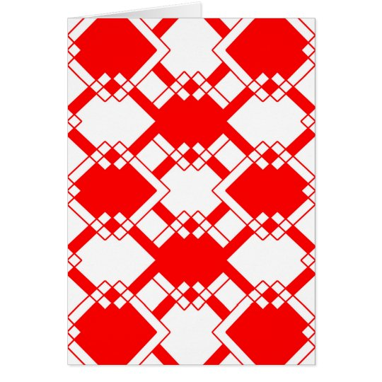 Abstract geometric pattern - red and white. card