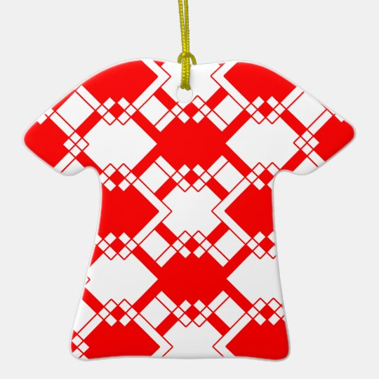 Abstract geometric pattern - red and white. ceramic ornament