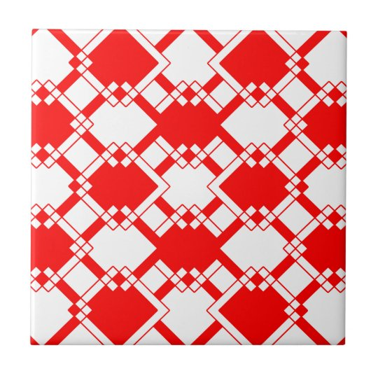 Abstract geometric pattern - red and white. ceramic tile