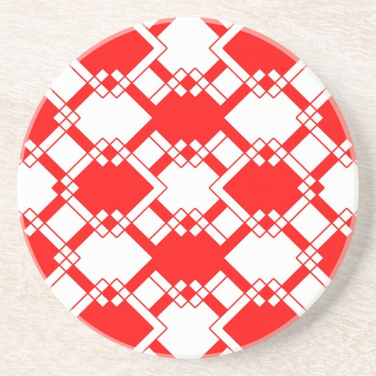 Abstract geometric pattern - red and white. coaster