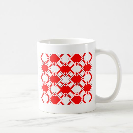 Abstract geometric pattern - red and white. coffee mug