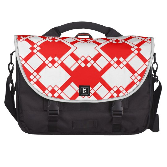Abstract geometric pattern - red and white. commuter bags