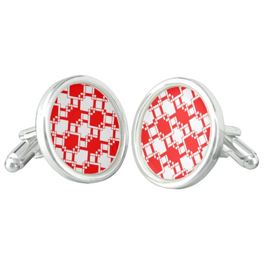 Abstract geometric pattern - red and white. cuff links