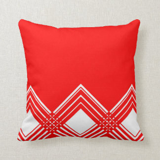 Abstract geometric pattern - red and white. cushion