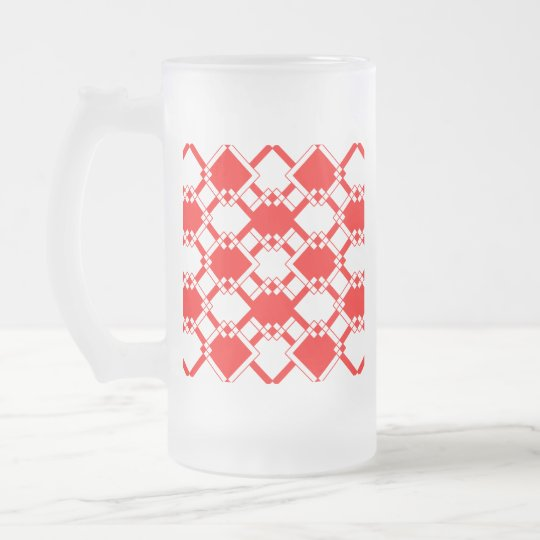 Abstract geometric pattern - red and white. frosted glass beer mug