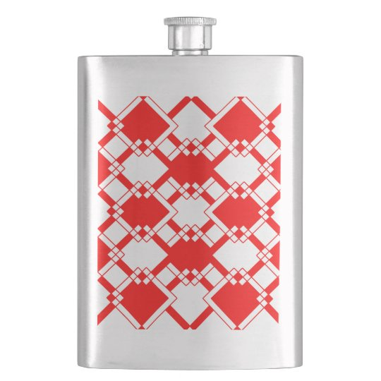 Abstract geometric pattern - red and white. hip flask