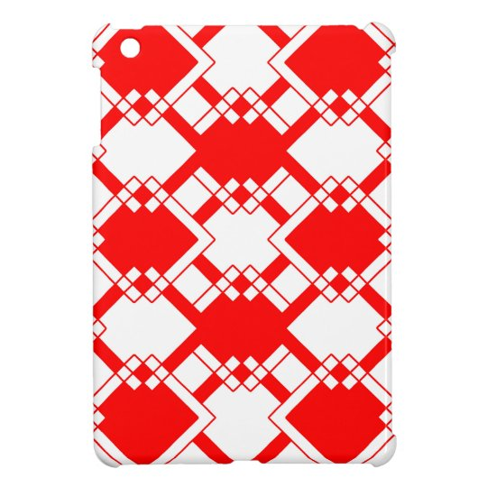 Abstract geometric pattern - red and white. iPad mini cover