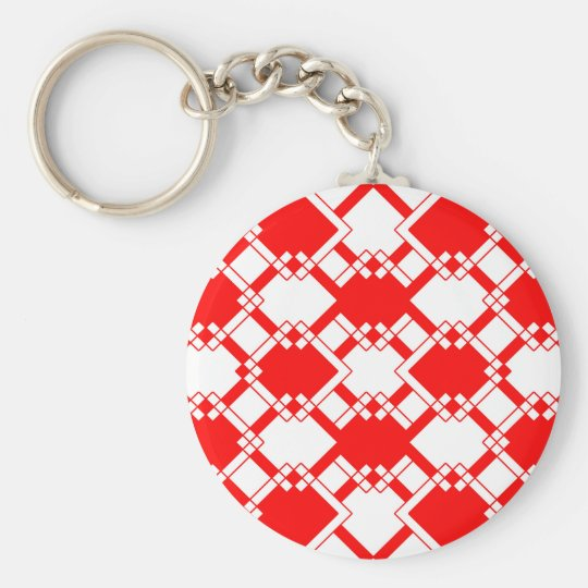 Abstract geometric pattern - red and white. key ring