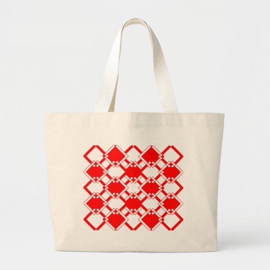 Abstract geometric pattern - red and white. large tote bag