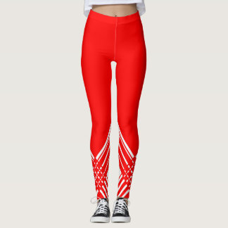 Abstract geometric pattern - red and white. leggings