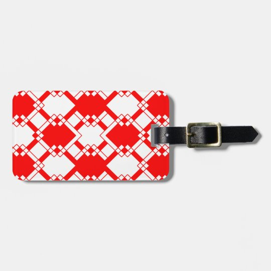 Abstract geometric pattern - red and white. luggage tag