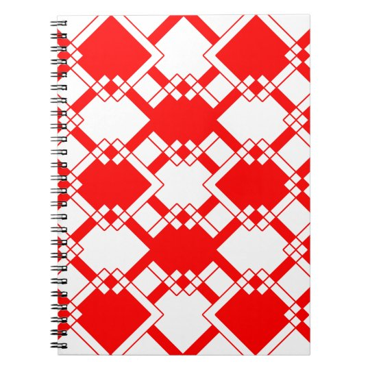 Abstract geometric pattern - red and white. notebooks