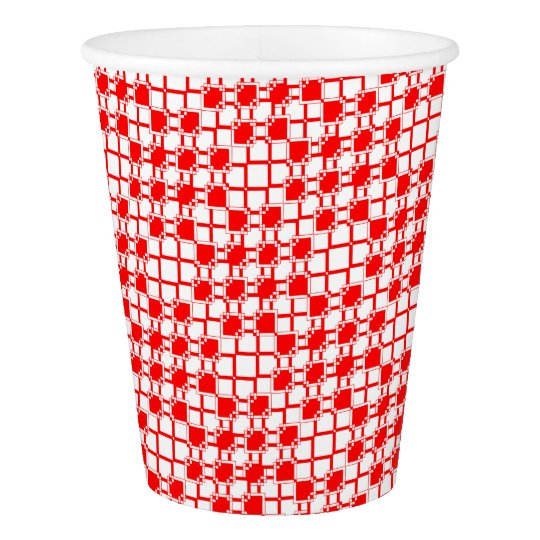 Abstract geometric pattern - red and white. paper cup