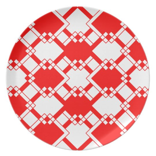 Abstract geometric pattern - red and white. plate