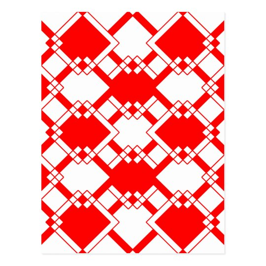 Abstract geometric pattern - red and white. postcard