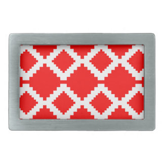 Abstract geometric pattern - red and white. rectangular belt buckles