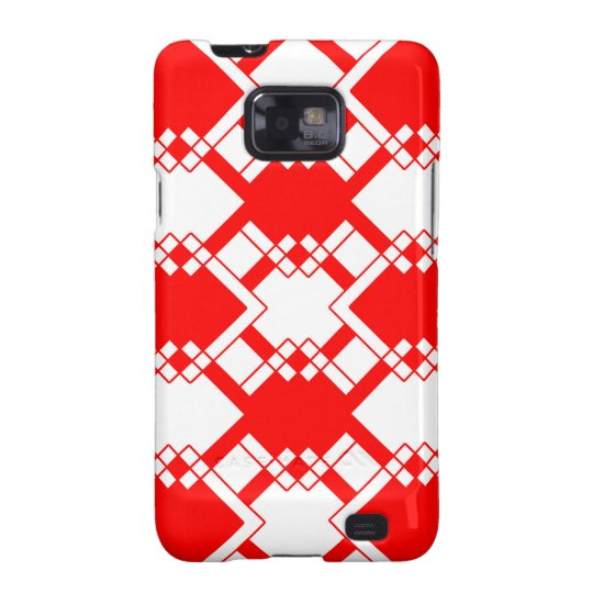 Abstract geometric pattern - red and white. samsung galaxy s2 cases