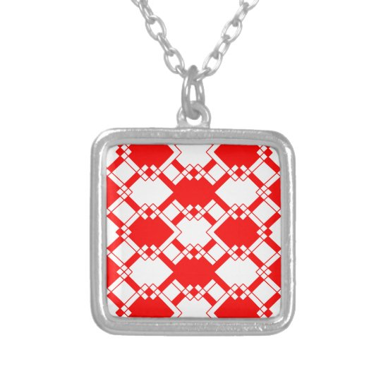 Abstract geometric pattern - red and white. silver plated necklace