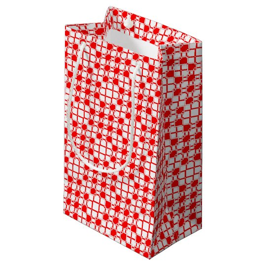 Abstract geometric pattern - red and white. small gift bag