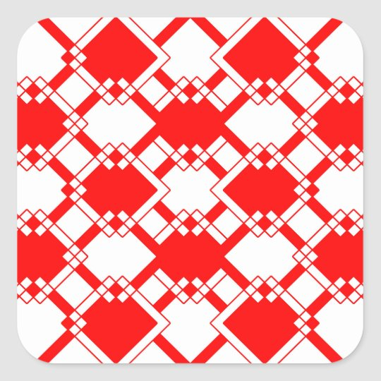 Abstract geometric pattern - red and white. square sticker