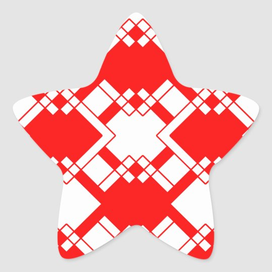 Abstract geometric pattern - red and white. star sticker