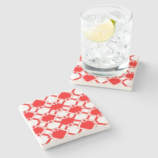 Abstract geometric pattern - red and white. stone coaster
