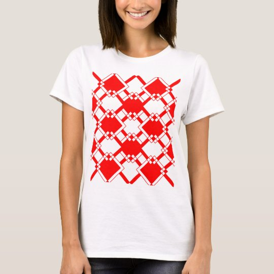 Abstract geometric pattern - red and white. T-Shirt