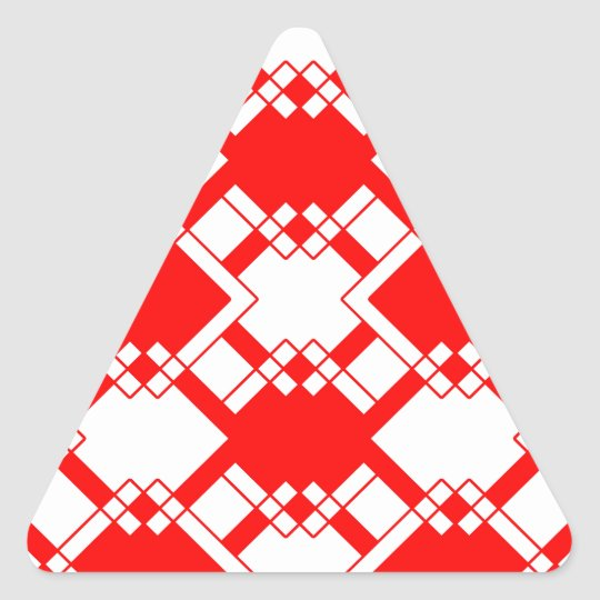 Abstract geometric pattern - red and white. triangle sticker