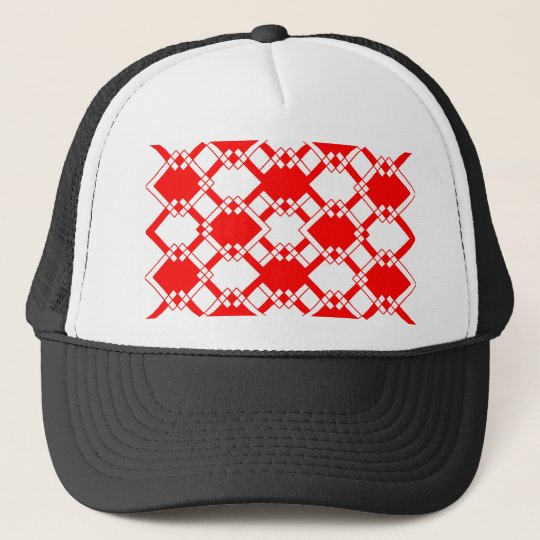 Abstract geometric pattern - red and white. trucker hat