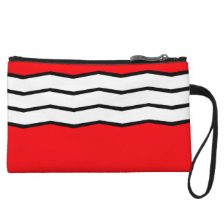 Abstract geometric pattern - red and white. wristlet