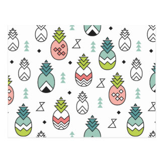 Abstract Geometric Pineapple Seamless Pattern Postcard