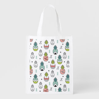 Abstract Geometric Pineapple Seamless Pattern Reusable Grocery Bag