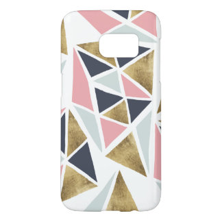 Abstract geometric pink navy blue gold triangles